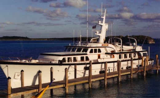 Mega Yacht 'Black Hawk', in the Exuma's.  This vessel, owned by the Chicago Black-hawks team C.E.O. is 123' long.
