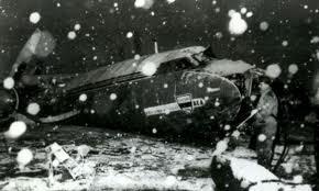 The wreckage of the stricken plane.