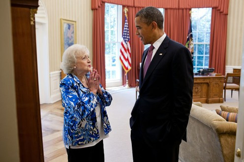 Betty White with President Obama.