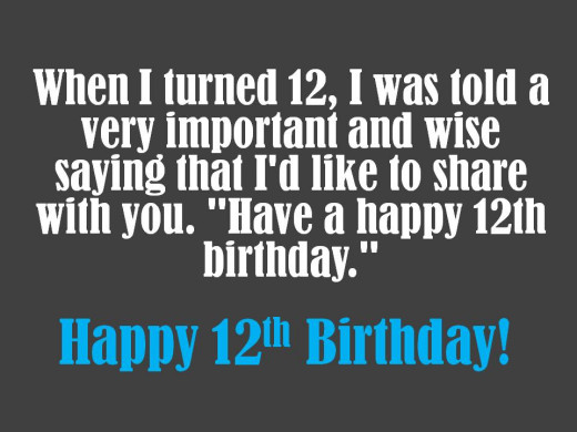 Clever 12th birthday message