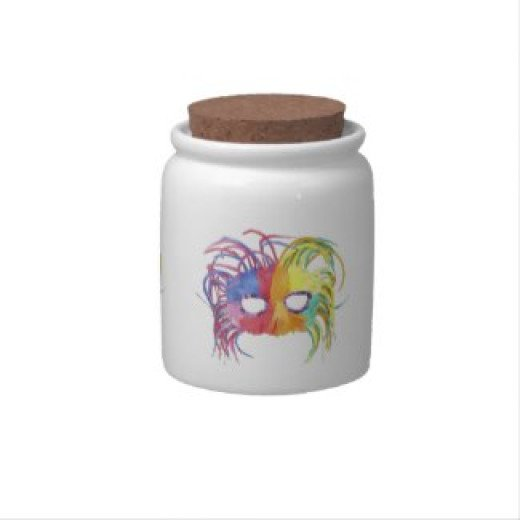 Beautiful Candy Jar with a mask pic available at zazzle