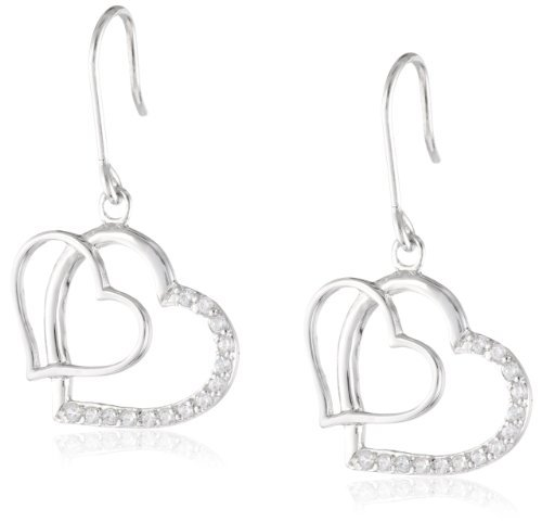 Sterling Silver Cubic Zirconia Double Open Heart Drop Earrings