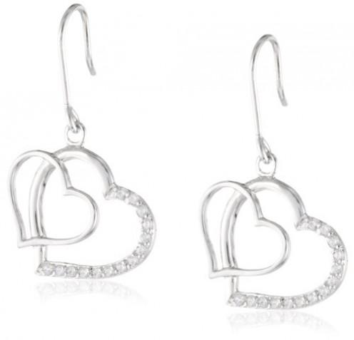Sterling Silver Cubic Zirconia Double Open Heart Drop Earrings