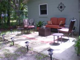 Faith and Sarah retreated to the back patio