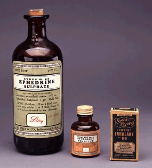 Old medical bottles containing Ephedra