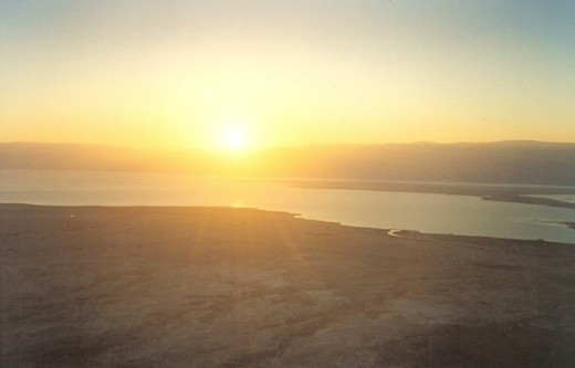 Sunrise above the Dead Sea, view from Masada