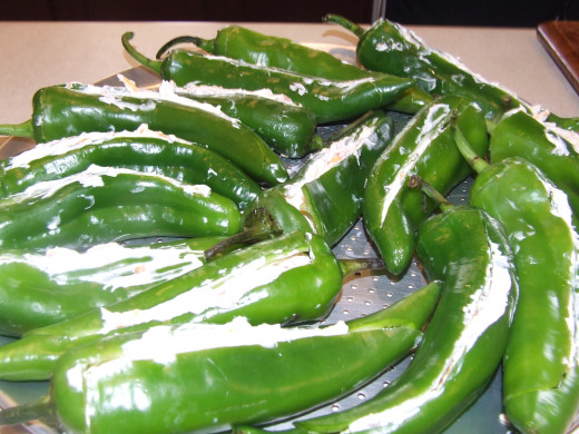 The Peppers are prepared and ready for the grill.