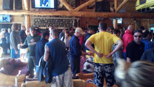 All of the groups gather prior to their run on the river at the main lodge
