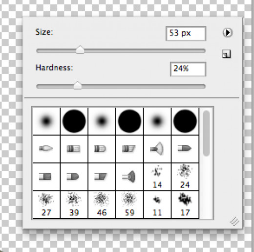 Right-click the mouse to change the size and hardness of the brush