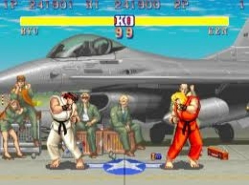 Super Streetfighter 2 on the SuperNES was an instant classic. It's a one on one fighting game featuring flying knees and spin kicks.