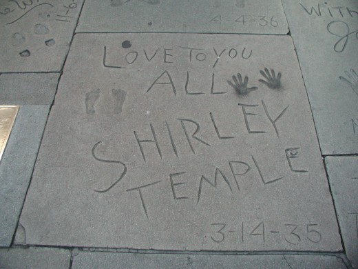 Shirley Temple's hand and foot prints at the Grauman's Chinese Theatre