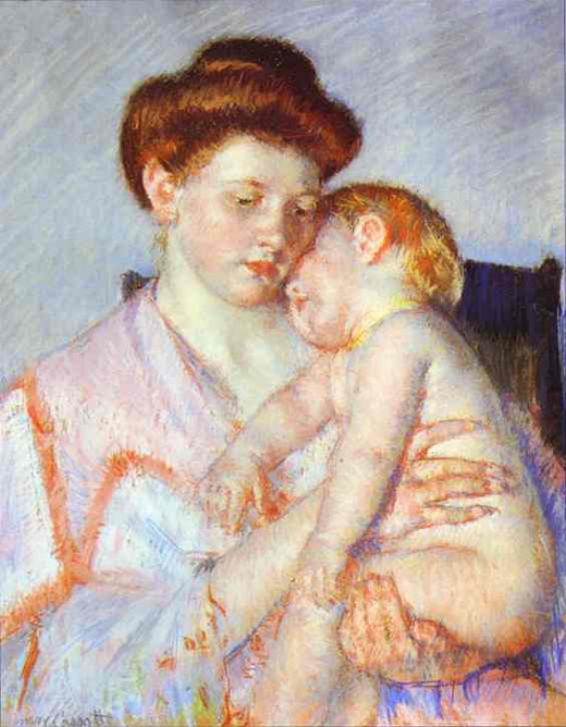 Sleepy Baby, painting by Mary Cassatt, 1910