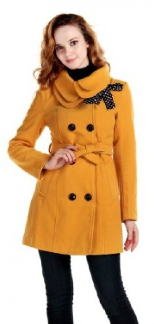 LANHUACAO Women Wool Blends Coat Slim Trench Winter Coat Long Jacket Outwear Yellow L