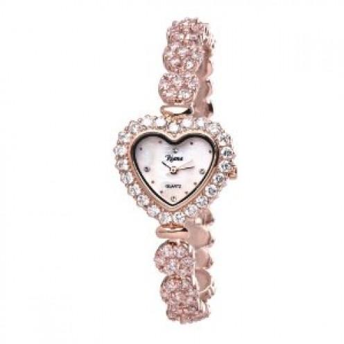 Ladies Luxury Swarovski Crystal Bracelet Wrist Watch Heart Dial Rose Gold-RCW07