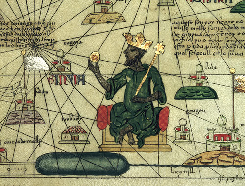 Famous rendering of Mansa Musa and his gold.