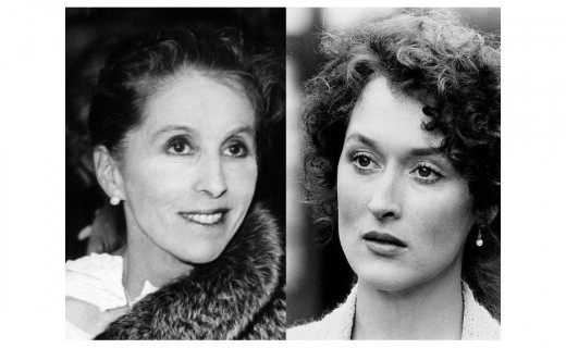"L: Karen Blixen aka: Isak Dinesen, photo circa 1935 by Tage Christensen;  R: Meryl Streep portraying Blixen in ""Out Of Africa"""