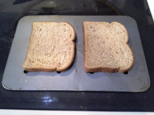 Step Two: Lay out two pieces of bread for each sandwich