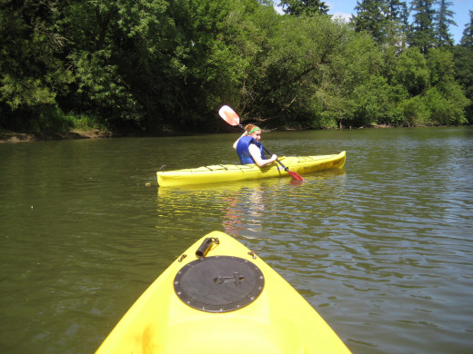 My daughter and I paddle on the Tualatin River.