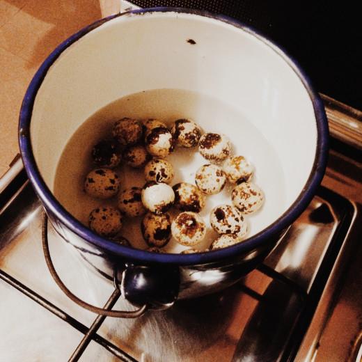 Boiling quail eggs