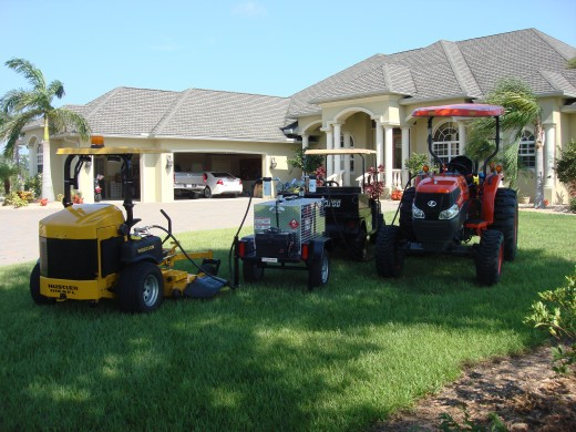 Shown here is a gas trailer being used to refuel lawn equipment.