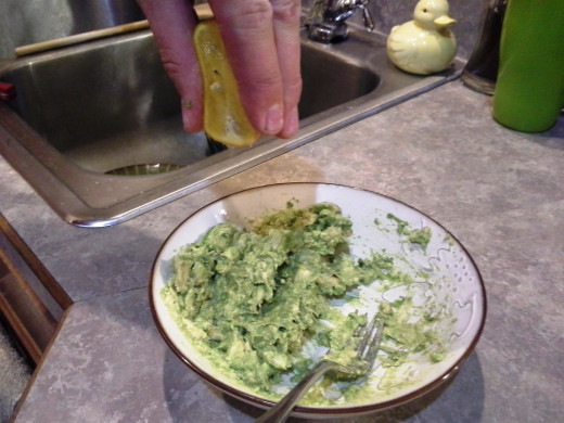 Step Six: Squeeze most of half a lemon into your avocado. This will keep it fresh and green for longer.