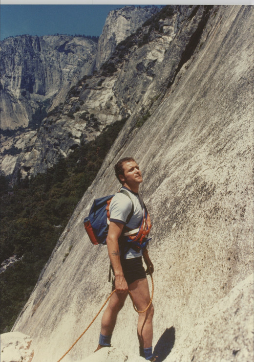 Ed Palumbo contemplates the route on the Royal Arches, Yosemite Valley, 1979