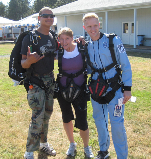 L-R: Tandem instructor, Julie Palumbo (my daughter) and Daniel Palumbo (my son) are ready for their tandem jumps.