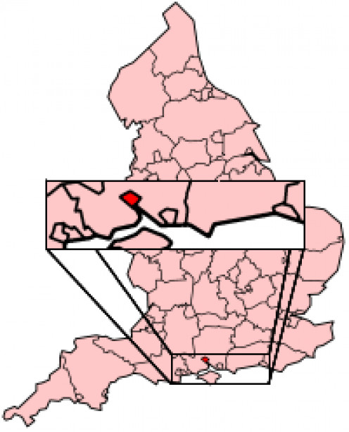 Map location of Southampton, England