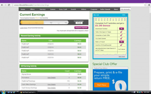 Example of screen showing inbox dollars earnings