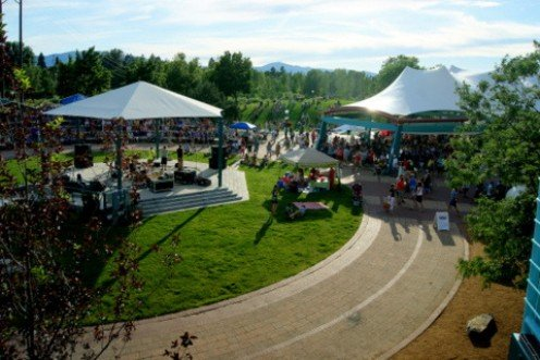"Dinner at Caras Park during ""Missoula Downtown.""  During the weekly, three hour event, thousands of people stop by to eat, listen to music and visit with friends."