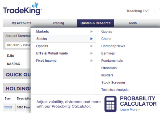 Stock screener on Tradeking