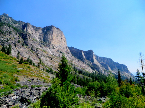 Peaks along the hiking trail in Blodgett Canyon