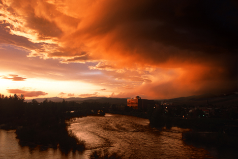 The Clark Fork River runs through downtown Missoula, Montana