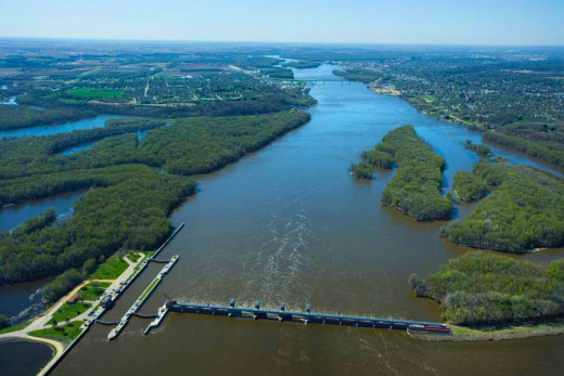 Aerial View Of The River Mississippi.