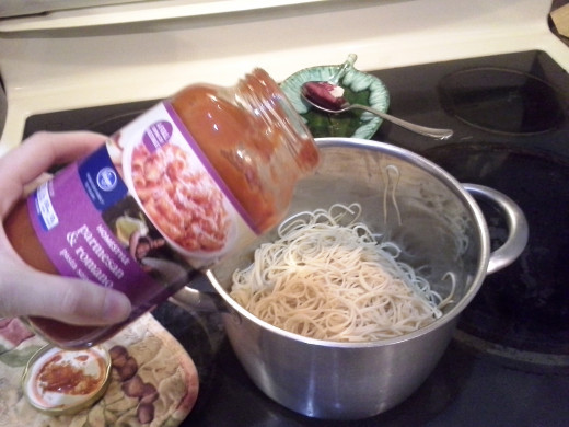Step Thirteen: Add your pasta sauce