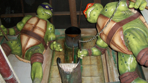 The Teenage Mutant Ninja Turtles from the Hollywood Wax Museum
