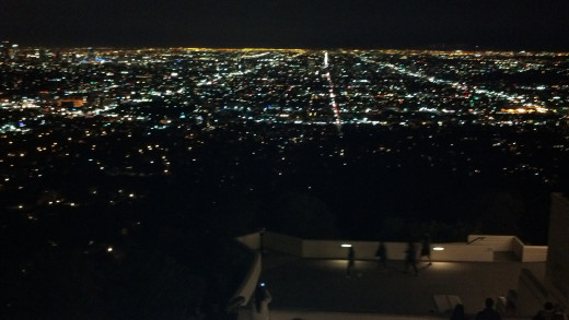 Los Angeles as seen from the Griffith Observatory at night.