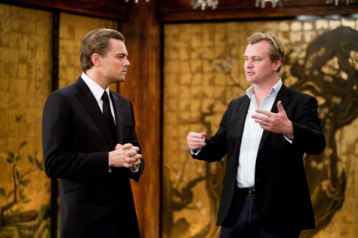 "Christopher Nolan together with Leonardo DiCaprio on the set of ""Inception""."