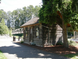 Historical Beckstrom's Log Cabin built in the 1880s, preserved for the public in Bothell, Washington.