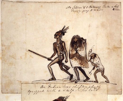 Early sketch of an Odawa family by British soldier George Townshend