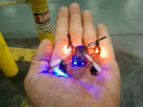 The quadcopter is so small that it will fit easily into the palm of your hand.