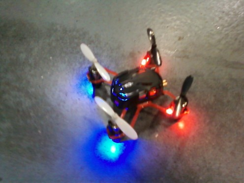 The quadcopter pictured after making a spectacular safe landing onto the vast warehouse floor.