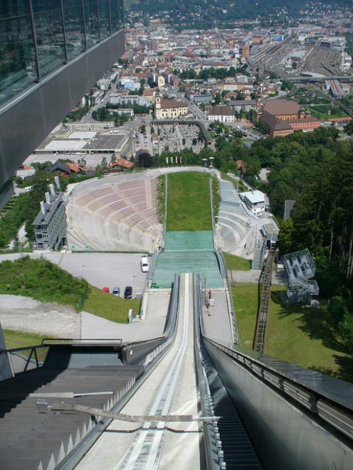 Example of a ski jump course without the snow and ice. Could you enjoy ski jumping?
