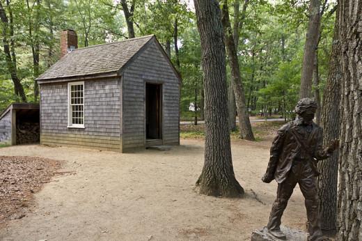 Exterior of a replica of Henry Thoreau's cabin