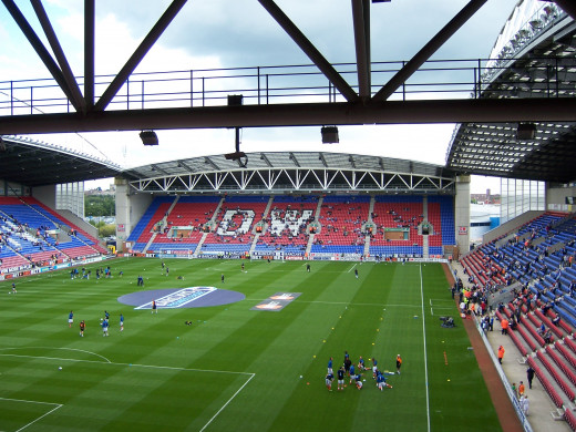 Warm up at the DW Stadium, Wigan, near to Wigan, Great Britain.