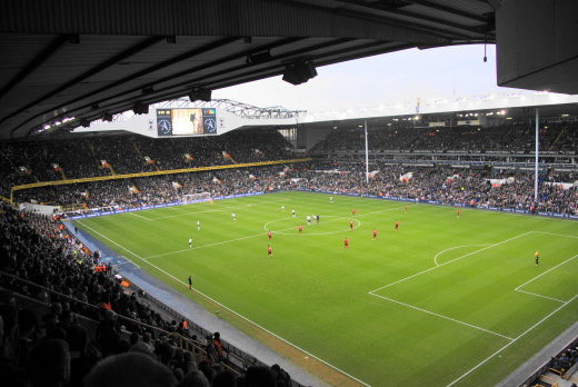 Ready for kick-off at White Hart Lane, near to Tottenham, Haringey, Great Britain.
