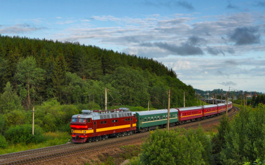 A Train Running Along The Trans-Siberian Railway Line.