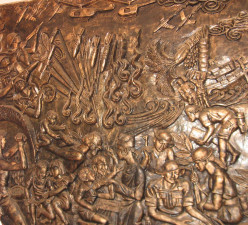 Bas relief in the museum at the Vinh Moc Tunnels