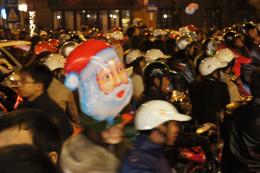 Massive traffic jam on Christmas Eve.