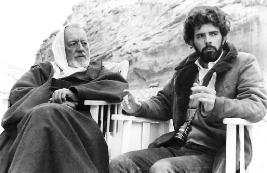 Alec Guiness and George Lucas filming Star Wars in Tunisia